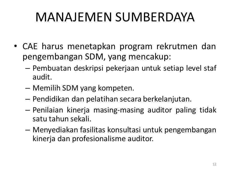 MANAJEMEN SUMBERDAYA CAE harus menetapkan program rekrutmen dan pengembangan SDM, yang mencakup: