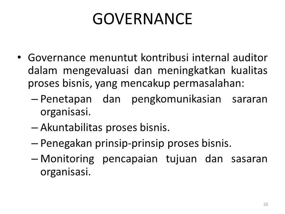 GOVERNANCE Governance menuntut kontribusi internal auditor dalam mengevaluasi dan meningkatkan kualitas proses bisnis, yang mencakup permasalahan: