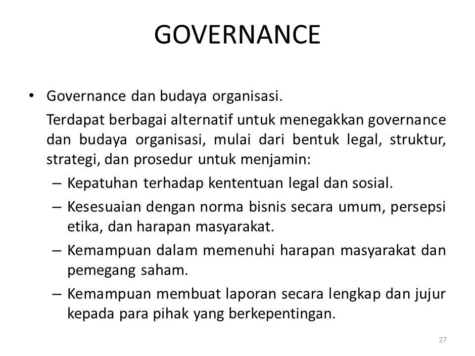 GOVERNANCE Governance dan budaya organisasi.