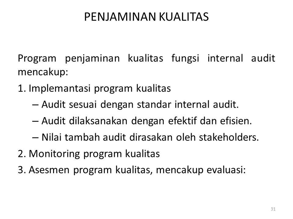 PENJAMINAN KUALITAS Program penjaminan kualitas fungsi internal audit mencakup: Implemantasi program kualitas.