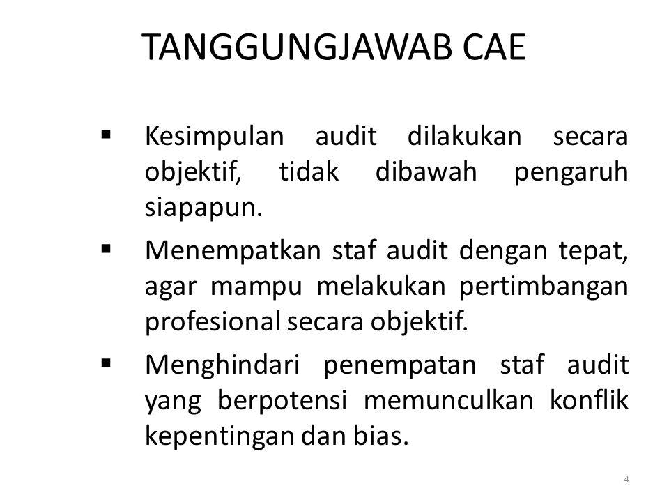 TANGGUNGJAWAB CAE Kesimpulan audit dilakukan secara objektif, tidak dibawah pengaruh siapapun.