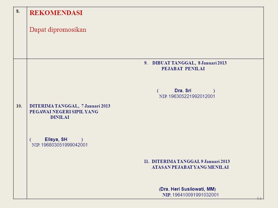 REKOMENDASI Dapat dipromosikan 8. 9. DIBUAT TANGGAL, 8 Januari 2013
