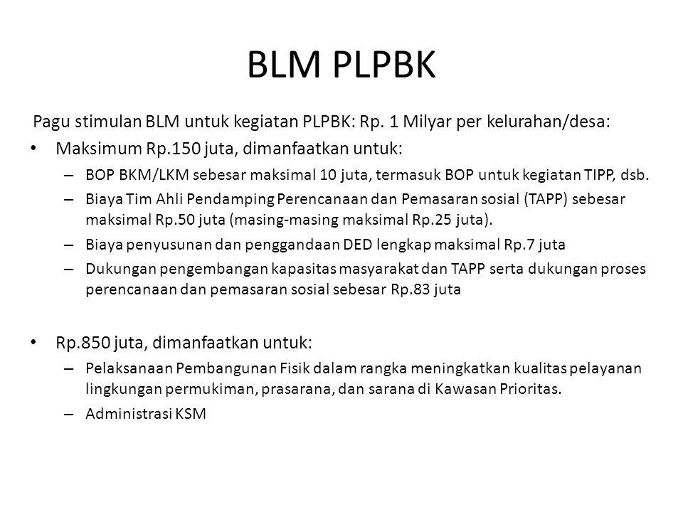 BLM PLPBK Pagu stimulan BLM untuk kegiatan PLPBK: Rp. 1 Milyar per kelurahan/desa: Maksimum Rp.150 juta, dimanfaatkan untuk: