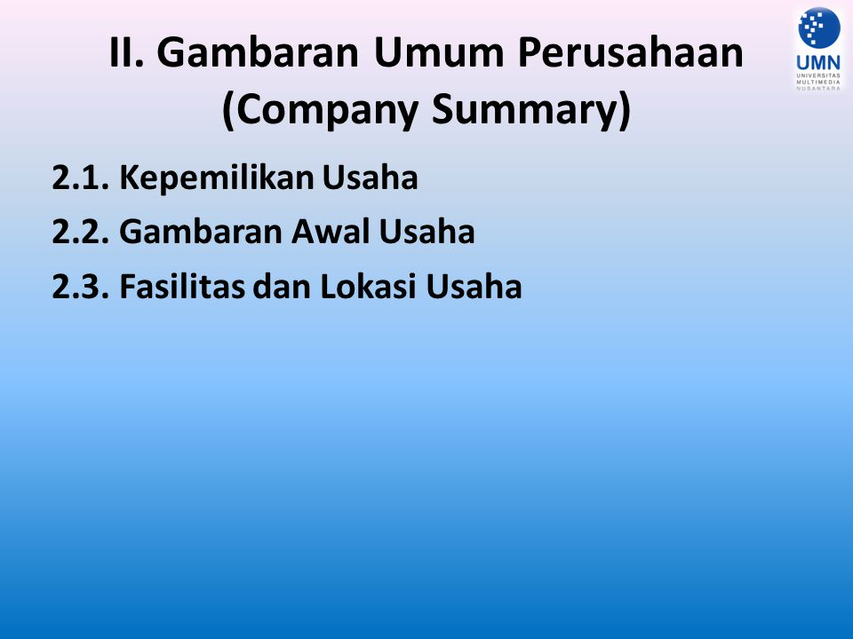 II. Gambaran Umum Perusahaan (Company Summary)