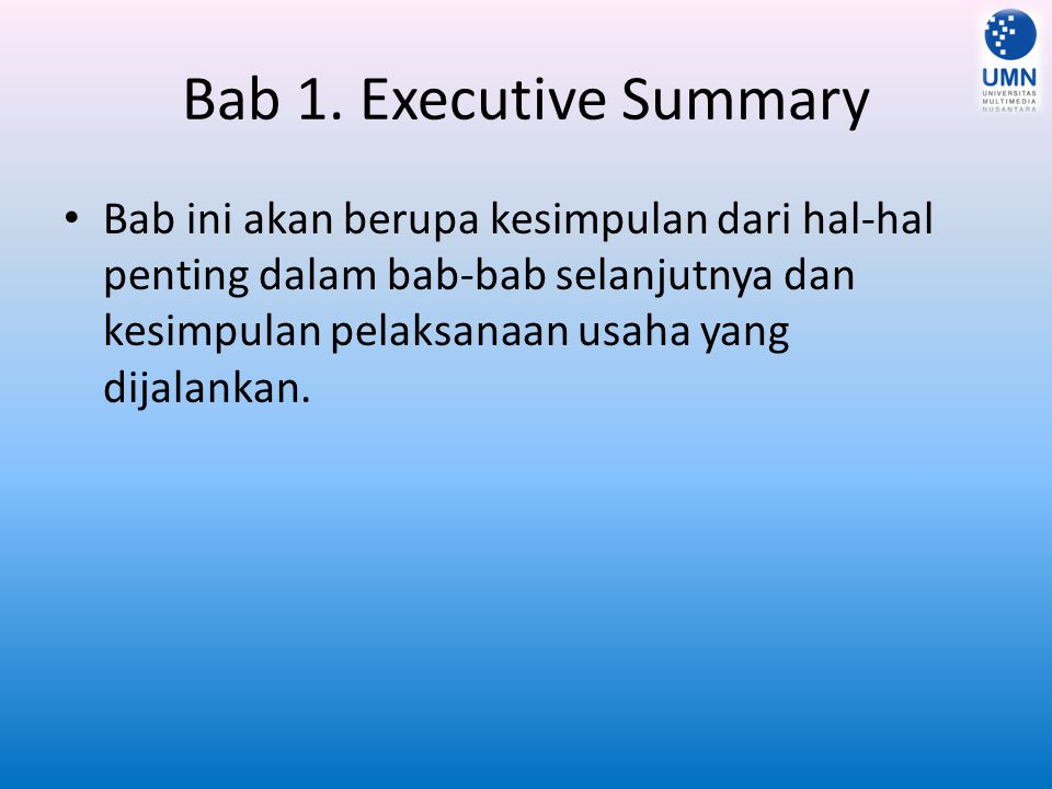 Bab 1. Executive Summary