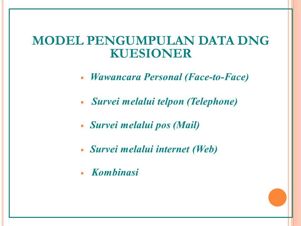 MODEL PENGUMPULAN DATA DNG KUESIONER