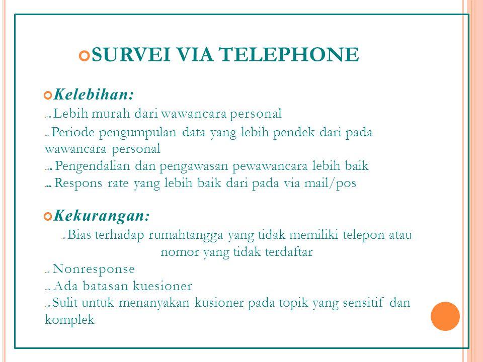 SURVEI VIA TELEPHONE Kelebihan: Kekurangan: