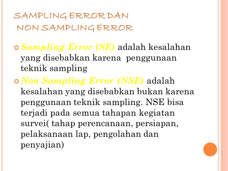 SAMPLING ERROR DAN NON SAMPLING ERROR