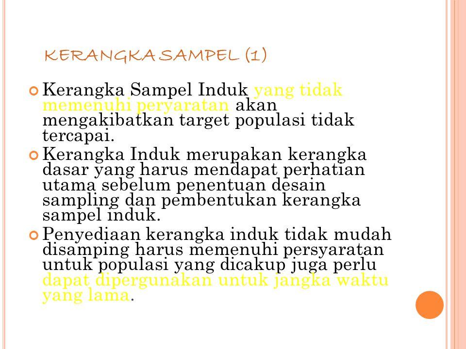 KERANGKA SAMPEL (1) Kerangka Sampel Induk yang tidak memenuhi peryaratan akan mengakibatkan target populasi tidak tercapai.