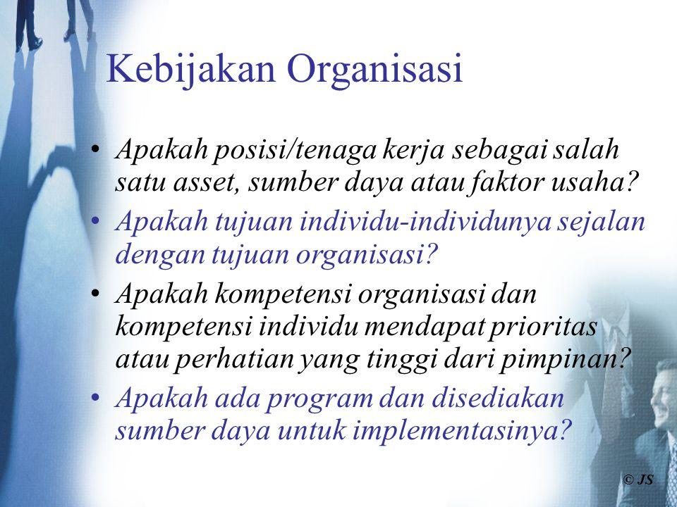 Kebijakan Organisasi Apakah posisi/tenaga kerja sebagai salah satu asset, sumber daya atau faktor usaha