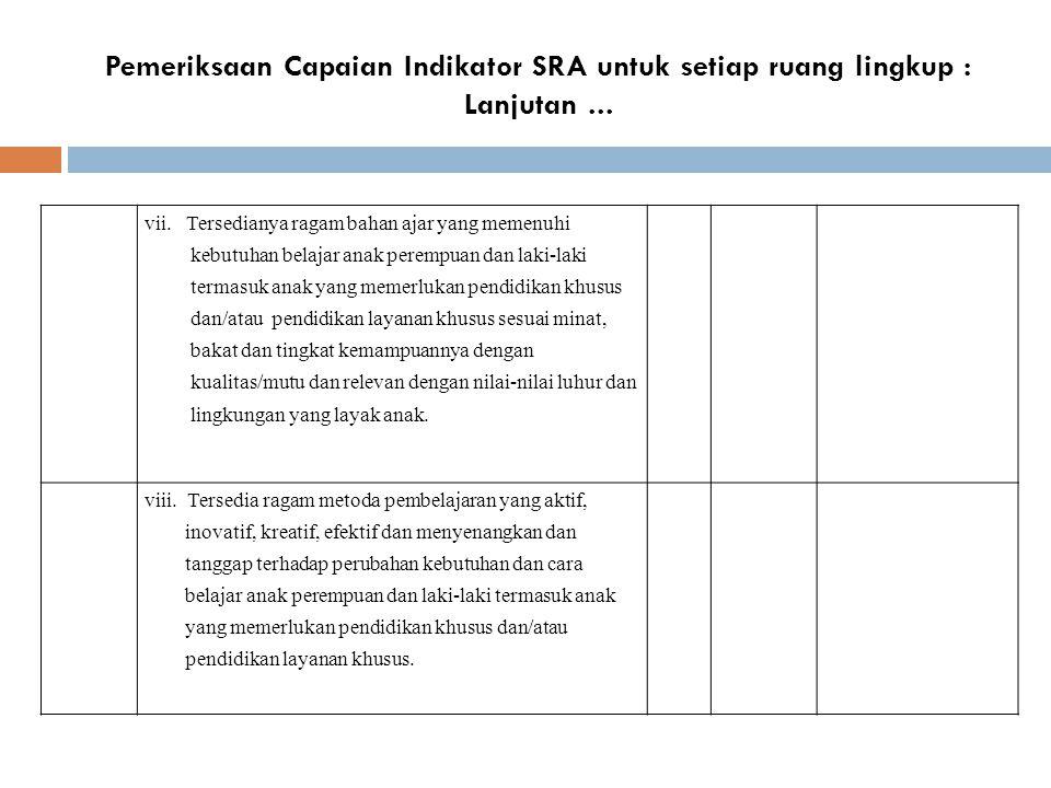 Pemeriksaan Capaian Indikator SRA untuk setiap ruang lingkup : Lanjutan ...