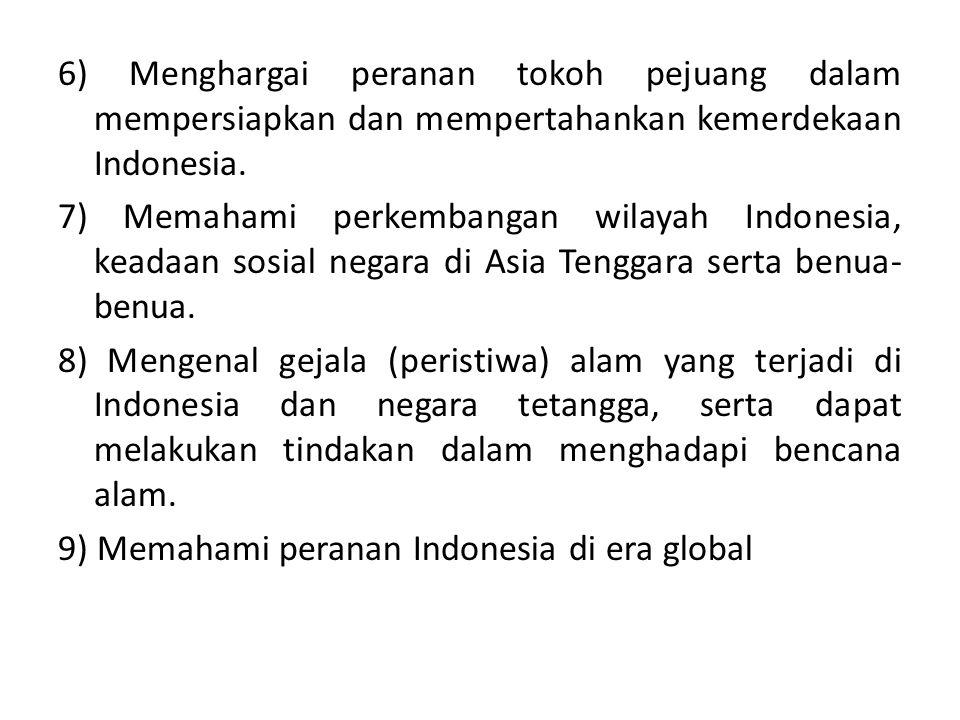 6) Menghargai peranan tokoh pejuang dalam mempersiapkan dan mempertahankan kemerdekaan Indonesia.