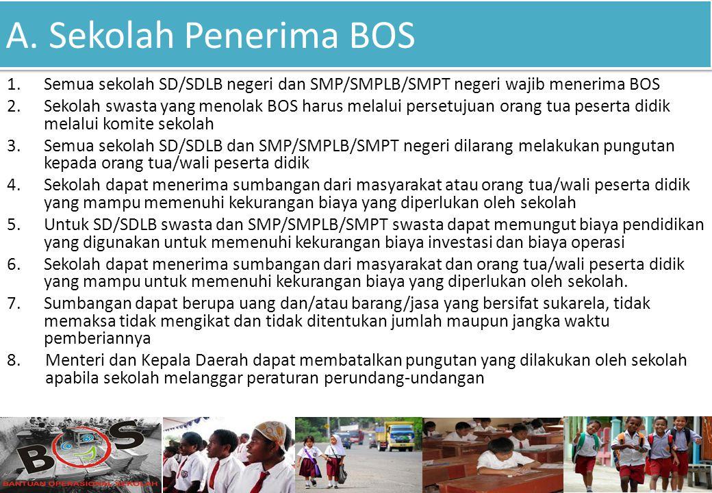 A. Sekolah Penerima BOS Semua sekolah SD/SDLB negeri dan SMP/SMPLB/SMPT negeri wajib menerima BOS.