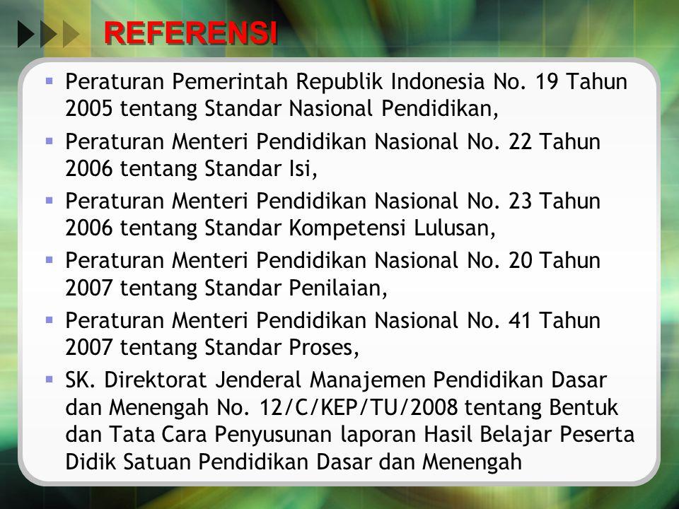 REFERENSI Peraturan Pemerintah Republik Indonesia No. 19 Tahun 2005 tentang Standar Nasional Pendidikan,