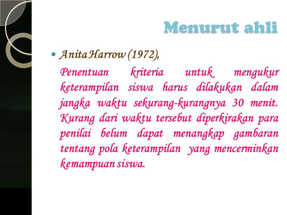 Menurut ahli Anita Harrow (1972),