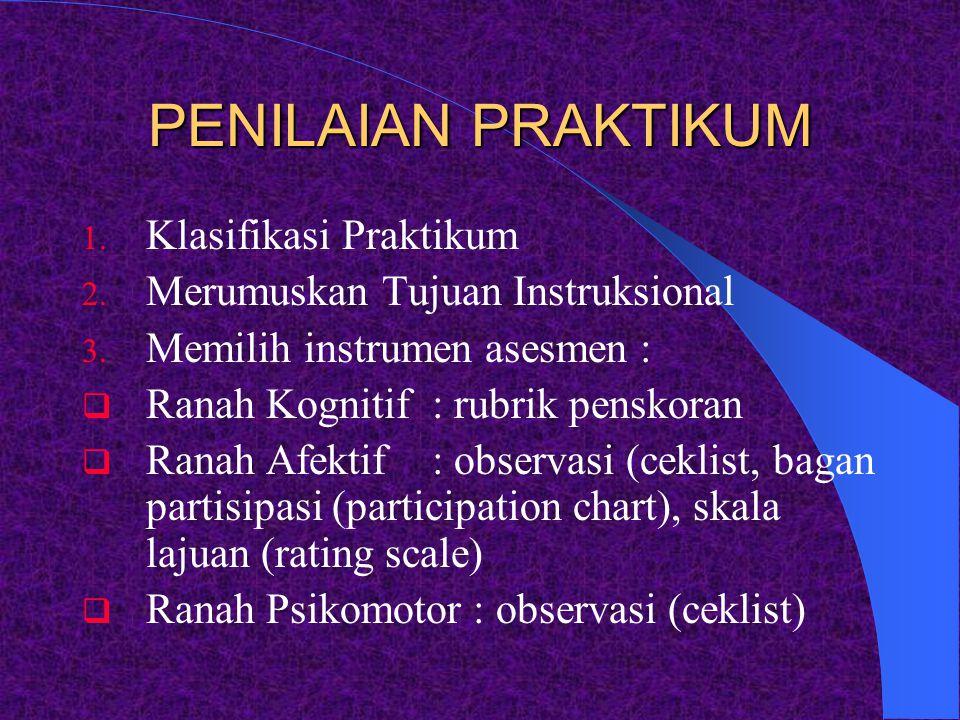 PENILAIAN PRAKTIKUM Klasifikasi Praktikum
