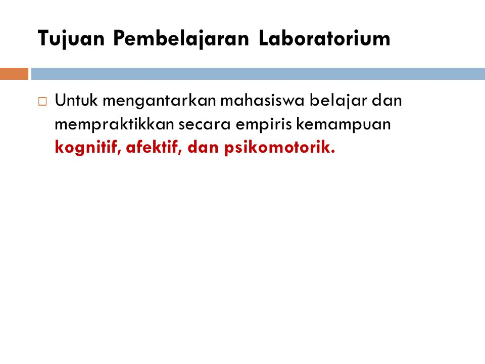 Tujuan Pembelajaran Laboratorium