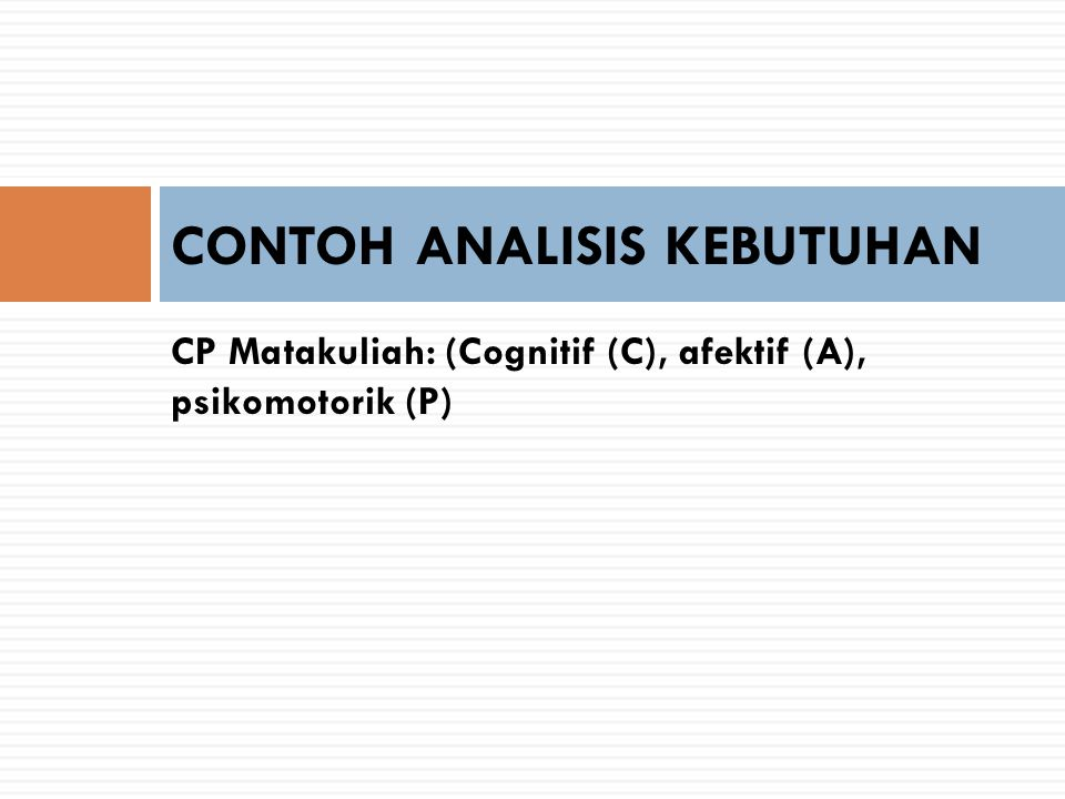 CONTOH ANALISIS KEBUTUHAN
