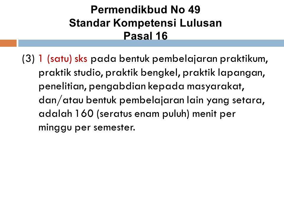 Permendikbud No 49 Standar Kompetensi Lulusan Pasal 16