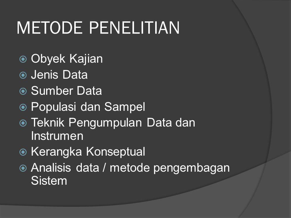 METODE PENELITIAN Obyek Kajian Jenis Data Sumber Data