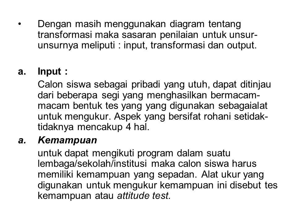 Dengan masih menggunakan diagram tentang transformasi maka sasaran penilaian untuk unsur-unsurnya meliputi : input, transformasi dan output.