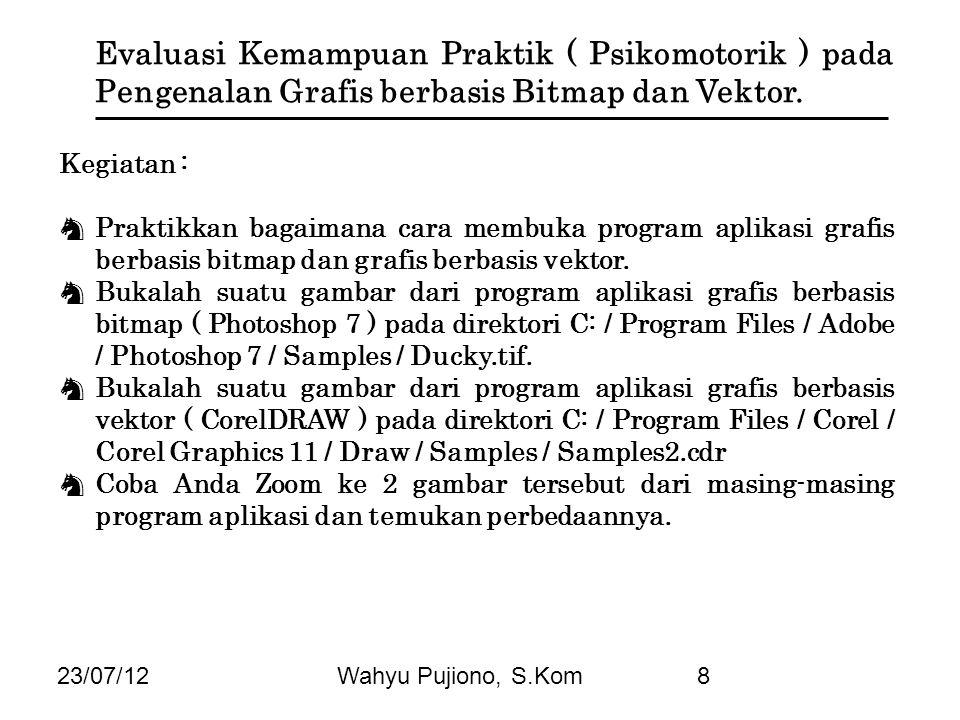 Evaluasi Kemampuan Praktik ( Psikomotorik ) pada Pengenalan Grafis berbasis Bitmap dan Vektor.