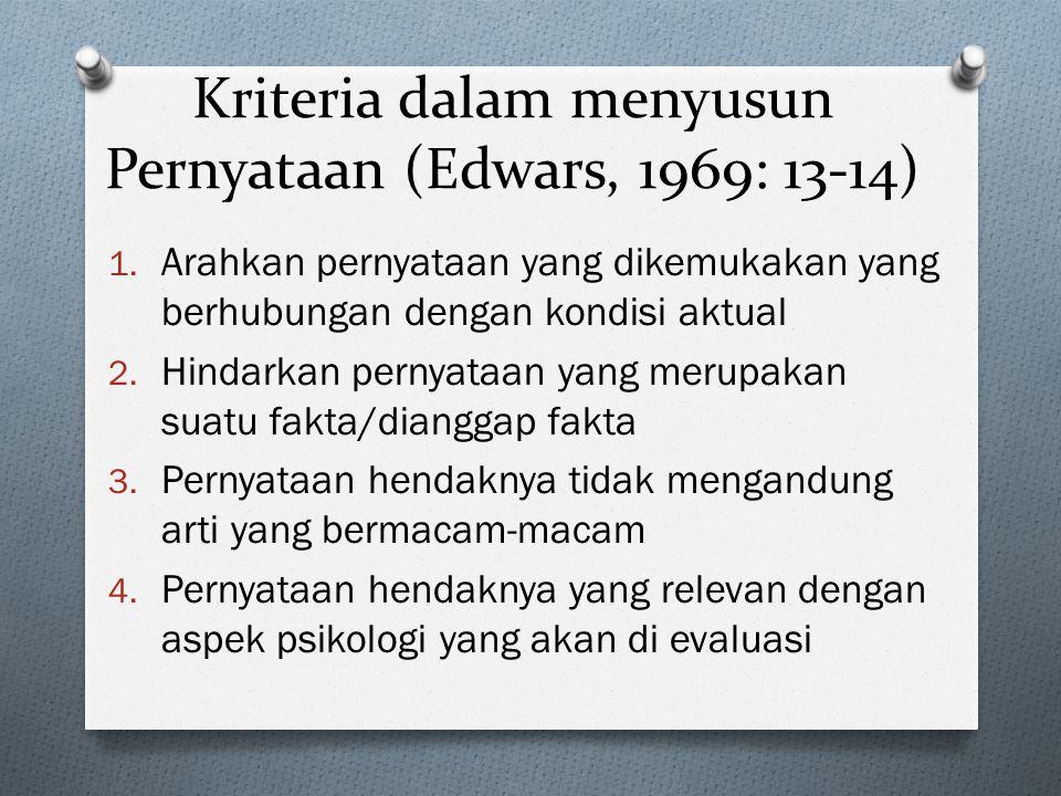Kriteria dalam menyusun Pernyataan (Edwars, 1969: 13-14)