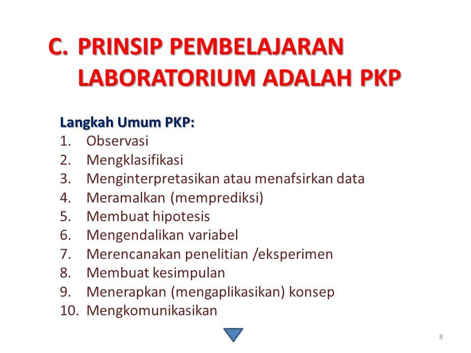 PRINSIP PEMBELAJARAN LABORATORIUM ADALAH PKP