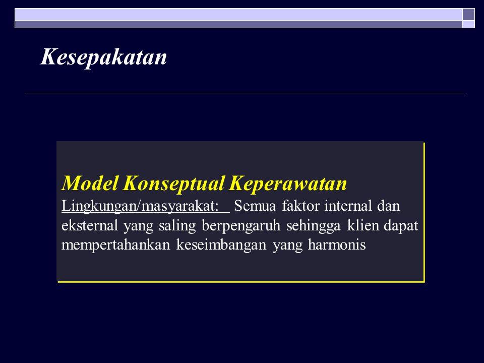 Kesepakatan Model Konseptual Keperawatan