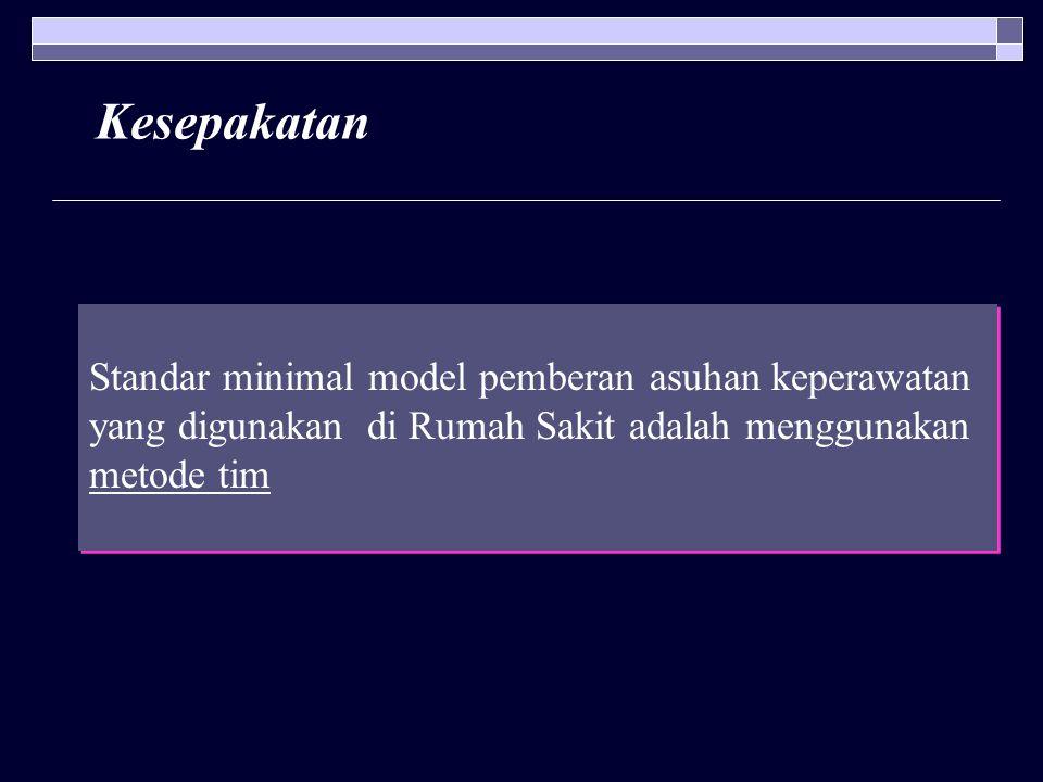 Kesepakatan Standar minimal model pemberan asuhan keperawatan