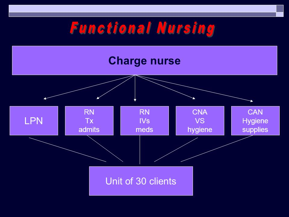 Functional Nursing Charge nurse LPN Unit of 30 clients RN Tx admits RN
