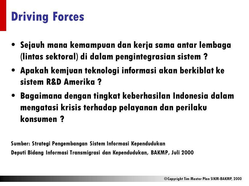 Driving Forces Sejauh mana kemampuan dan kerja sama antar lembaga (lintas sektoral) di dalam pengintegrasian sistem