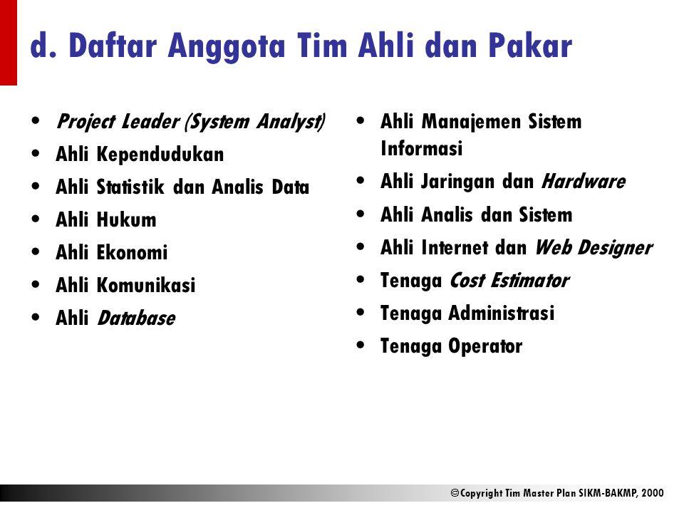 d. Daftar Anggota Tim Ahli dan Pakar