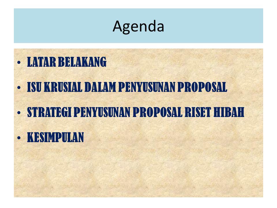 Agenda LATAR BELAKANG ISU KRUSIAL DALAM PENYUSUNAN PROPOSAL
