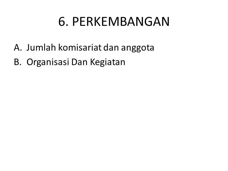 6. PERKEMBANGAN Jumlah komisariat dan anggota Organisasi Dan Kegiatan