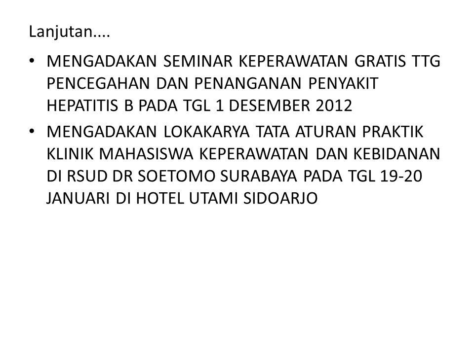 Lanjutan.... MENGADAKAN SEMINAR KEPERAWATAN GRATIS TTG PENCEGAHAN DAN PENANGANAN PENYAKIT HEPATITIS B PADA TGL 1 DESEMBER 2012.