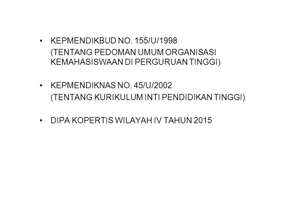 KEPMENDIKBUD NO. 155/U/1998 (TENTANG PEDOMAN UMUM ORGANISASI KEMAHASISWAAN DI PERGURUAN TINGGI) KEPMENDIKNAS NO. 45/U/2002.
