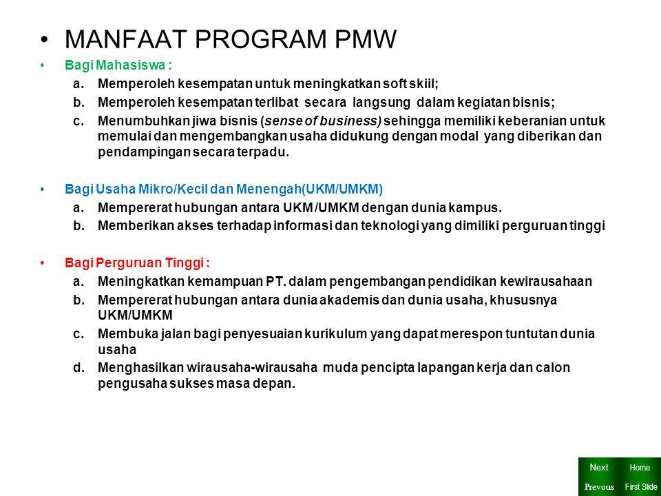 MANFAAT PROGRAM PMW Bagi Mahasiswa :