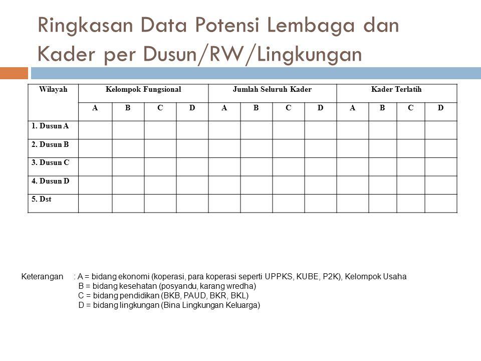 Ringkasan Data Potensi Lembaga dan Kader per Dusun/RW/Lingkungan