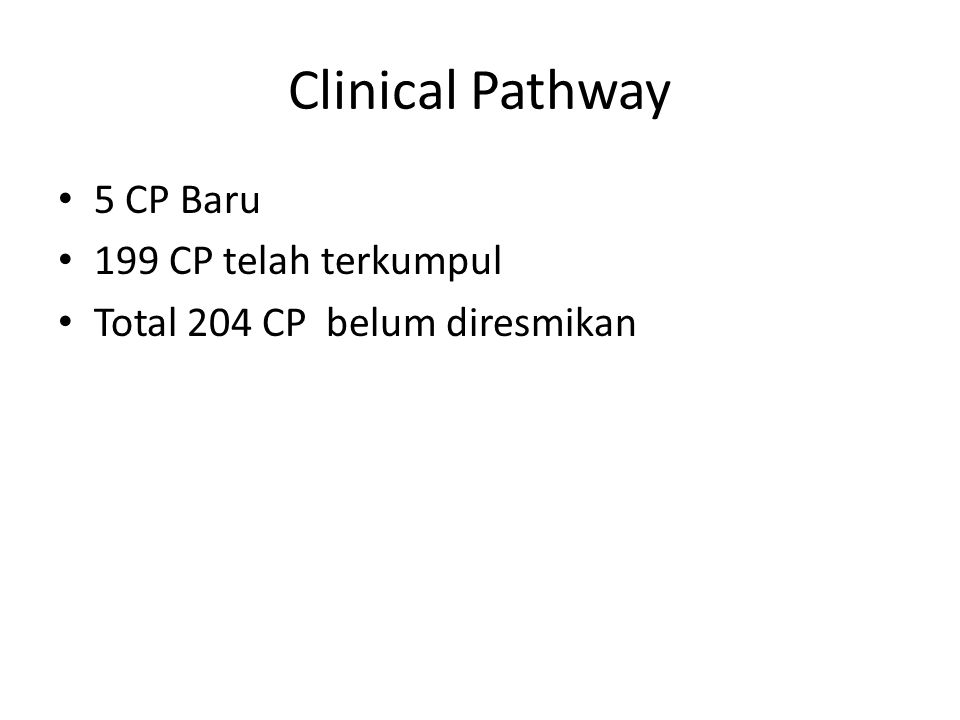 Clinical Pathway 5 CP Baru 199 CP telah terkumpul