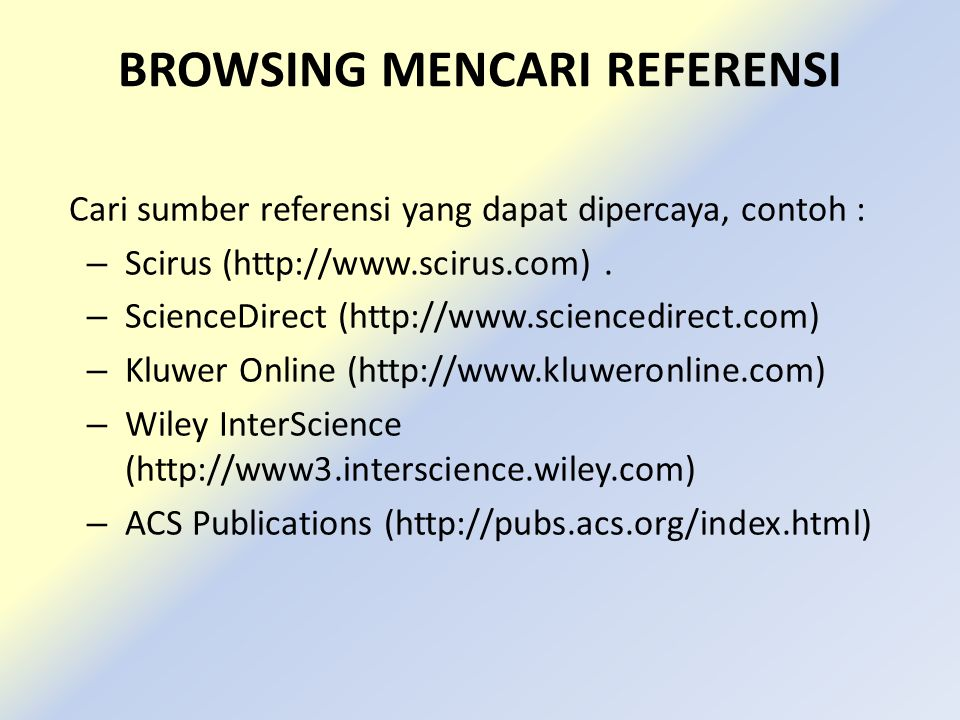 BROWSING MENCARI REFERENSI