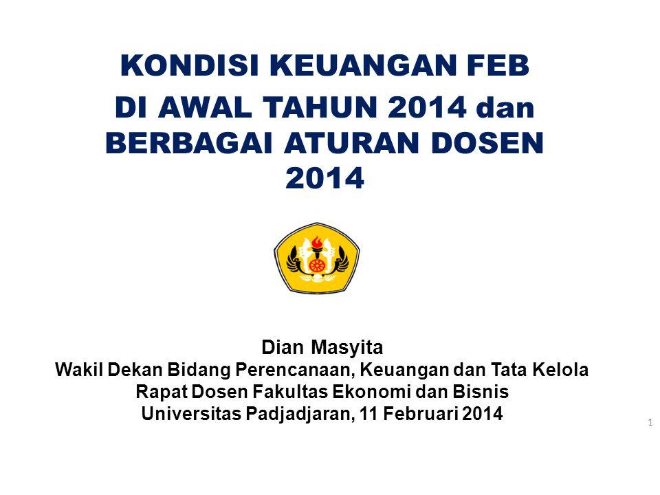 KONDISI KEUANGAN FEB DI AWAL TAHUN 2014 dan BERBAGAI ATURAN DOSEN 2014