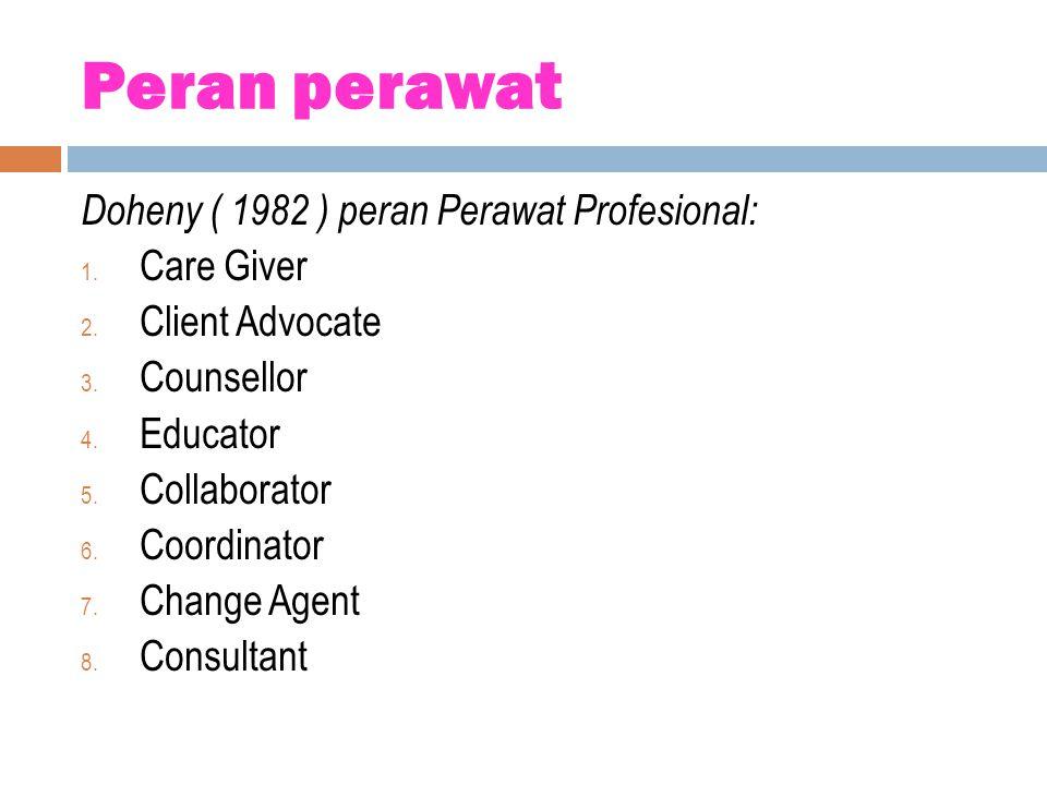 Peran perawat Doheny ( 1982 ) peran Perawat Profesional: Care Giver