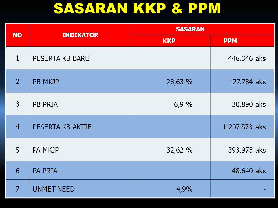 SASARAN KKP & PPM 1 PESERTA KB BARU 446.346 aks 2 PB MKJP 28,63 %