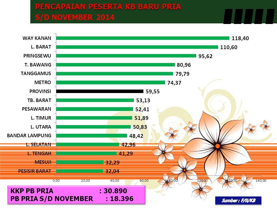 PENCAPAIAN PESERTA KB BARU PRIA S/D NOVEMBER 2014