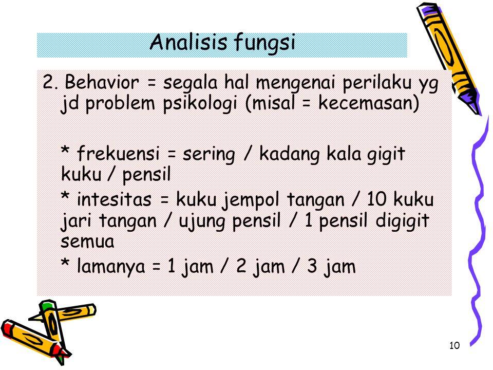 Analisis fungsi 2. Behavior = segala hal mengenai perilaku yg jd problem psikologi (misal = kecemasan)