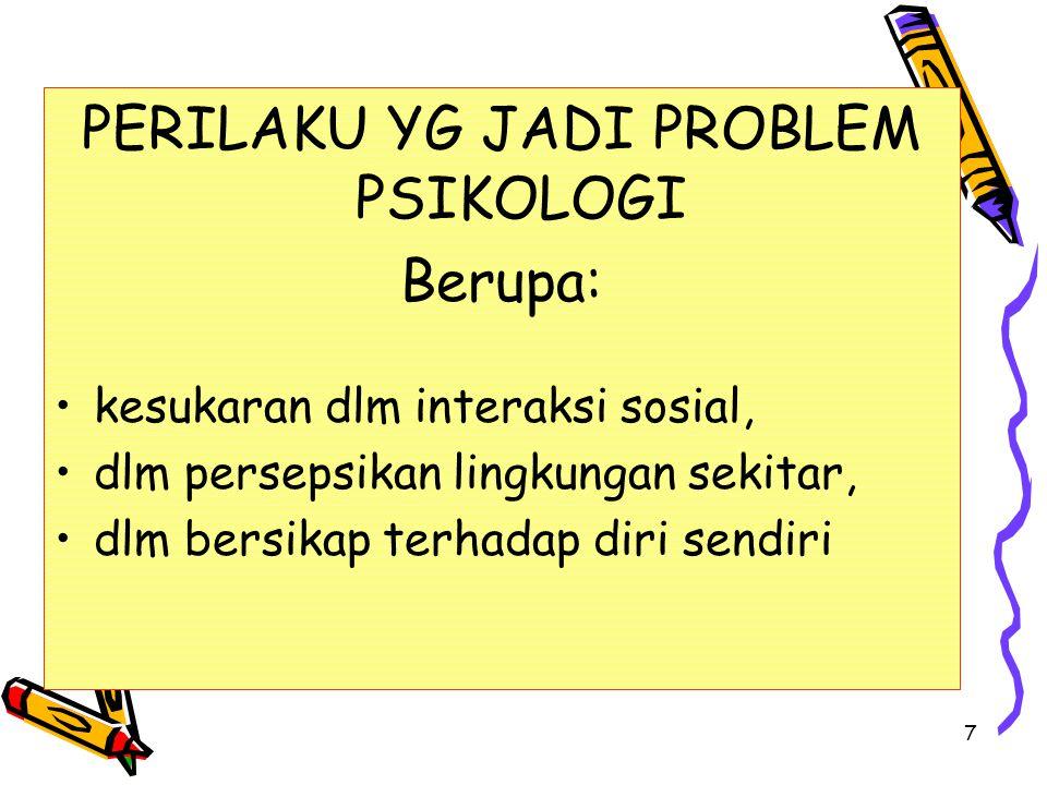 PERILAKU YG JADI PROBLEM PSIKOLOGI