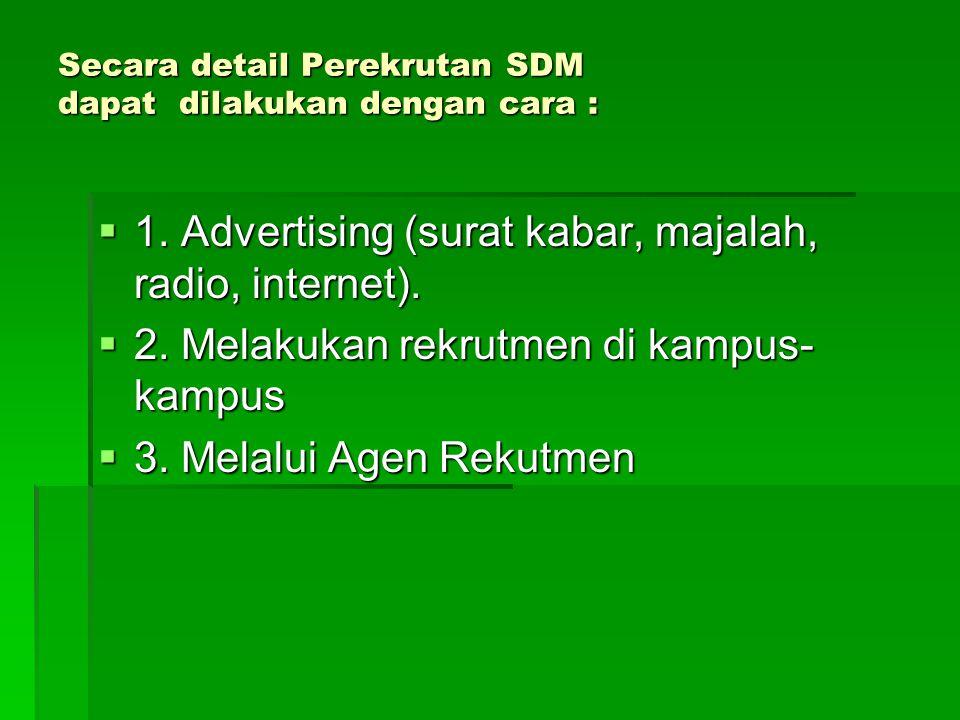 Secara detail Perekrutan SDM dapat dilakukan dengan cara :