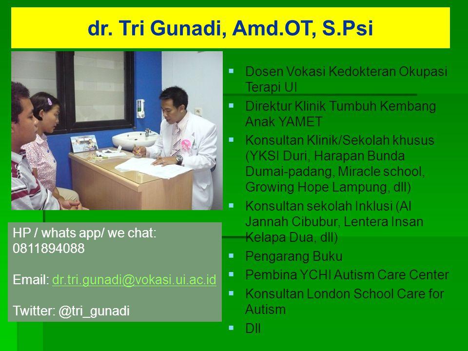dr. Tri Gunadi, Amd.OT, S.Psi