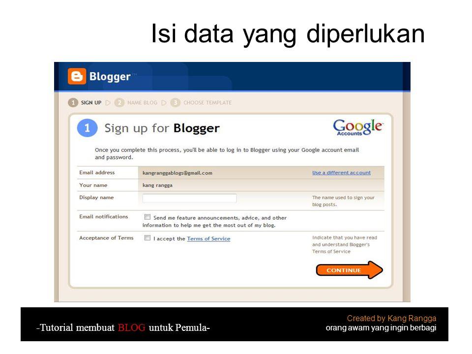 Isi data yang diperlukan